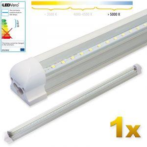 Ledvero 1x SMD réglettes lumineuses LED T8 G13 tube en blanc froid couvercle transparent - 90 cm, 14 W, 1400lumen- prêt pour l'installation