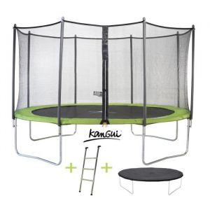 Kangui Trampoline TWIN DUO 426 cm Vert avec Echelle, Couverture propreté et Filet de Protection Trampoline TWIN DUO 430 cm Vert - Garçon et Fille - A partir de 4 ans - Livré à l'unité