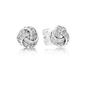Pandora Boucles d'oreilles 290696CZ - Boucles d'oreilles Noeuds d'Amour Scintillants Femme
