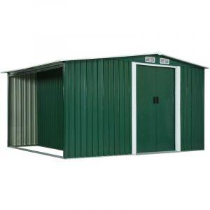 VidaXL Abri de jardin avec portes Vert 329,5x205x178 cm Acier