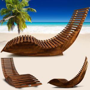 Deuba Chaise longue à bascule en bois - Transat ergonomique - Jardin/plage/terrasse - Bain de soleil - Relax