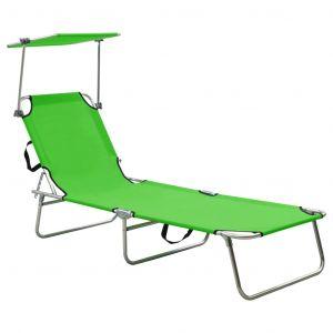 VidaXL Chaise longue pliable avec auvent Acier Vert pomme