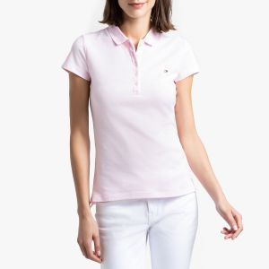 Tommy Hilfiger Heritage Short Sleeve Slim Polo, Rose (Cradle Pink 888), Large (Taille Fabricant: LG) Femme