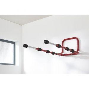 Mottez Support 4 vélos ou multi-usage mural et télescopiques - Protection par 8 mousses haute densité - Coloris noir - Tube Ø 30 et 25mm