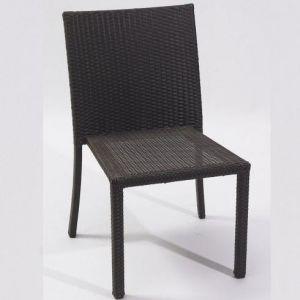 Ensemble encastrable table de jardin, 2 fauteuils et 2 poufs