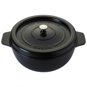 Godin Cocotte ronde en émail - D: 25cm - noir satiné
