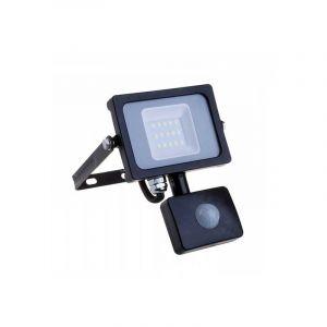 V-TAC 10W avec détecteur de Mouvement Projecteur LED de sécurité extérieur étanche avec Samsung LED Noir Corps Gris Verre IP65 3000K Blanc Chaud 800 Lumens