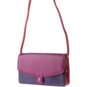Dudu Petit sac à bandoulière pour femme en cuir véritable coloré Rectangulaire avec rabat et fermeture à bouton aimant Fuchsia