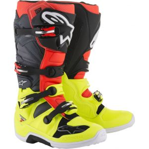 Alpinestars Tech 7 Yellow Fluo Red Gray Black - Tout terrain