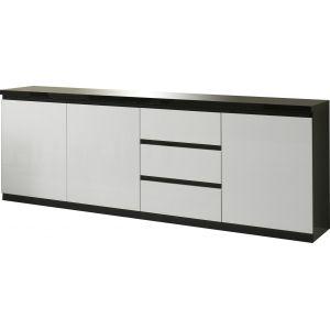 Comforium bahut design noir et blanc laqué à 3 portes ... 550680121af1