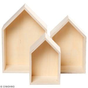 3pièces Boîte en bois, étagère Box Forme Maison, étagère murale Décoration Murale, bois unbeh.