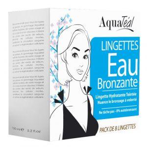 Aquatéal 8 lingettes eau bronzante visage et corps
