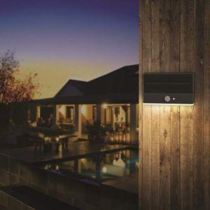 Lumihome Applique extérieur Solaire Slim Light noire avec détecteur - Garantie 5 ans