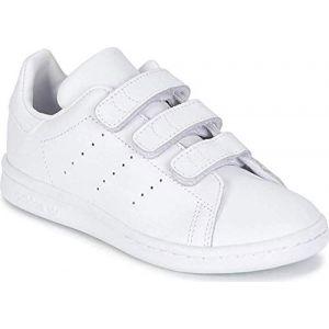 Adidas Stan Smith CF C, Basket Mixte Enfant, FTWR White/FTWR White/Grey One F17, 33.5 EU