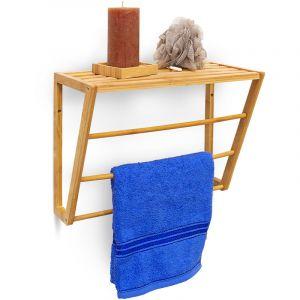 Relaxdays Porte-serviettes mural à fixer en bambou rangement étagère murale bois salle de bain portant HxLxP 30 x 42 x 20 cm 3 barres serviettes essuie-main linge, nature