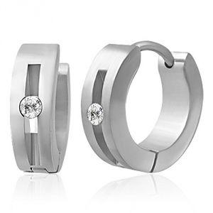 Zense ZE0003  - Boucles d'oreilles pour homme en acier et diamant