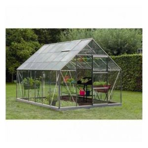 ACD Serre de jardin en polycarbonate Intro Grow - Olivier - 9,90m², Couleur Gris, Base Sans base, Filet ombrage oui, Descente d'eau 2 - longueur : 3m84