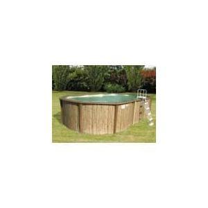 Sunbay 770797 - Piscine Freedom ovale hors sol en métal aspect bois 671 x 366 x 135 cm