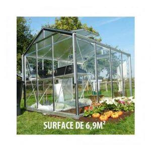 ACD Serre de jardin en verre trempé Royal 33 - 6,9 m², Couleur Silver, Ouverture auto Oui, Porte moustiquaire Oui - longueur : 2m25