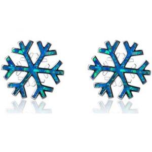 Blue Pearls Boucles Doreilles Femme Flocon De Neige En Plaqué Argent Et Opale Bps 0842 Y
