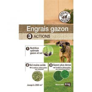 NONA Engrais gazon 3 en 1 - 8 kg - 3 en 1 - 8 kg - Formulation en mini-granulés évite la poussière et assure un délitement efficace
