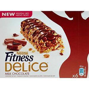 Nestlé Fitness Délice Chocolat au Lait - Barres de Céréales - 6 Barres de 22,5 g - Lot de 6