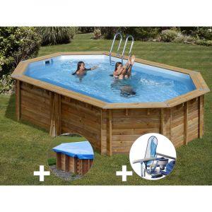 Sunbay Kit piscine bois Cannelle 5,51 x 3,51 x 1,19 m + Bâche hiver + Kit d'entretien