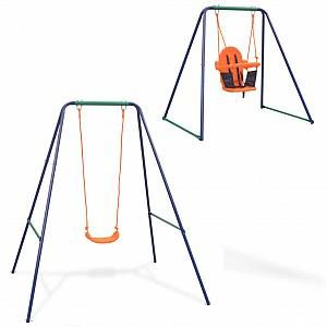 VidaXL Balançoire simple 2-en-1 et balançoire pour tout-petits Orange