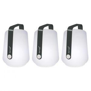 Fermob Lampe sans fil Balad / H 13,5 cm - Set de 3 lampes carbone en matière plastique