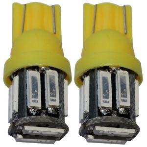 Aerzetix 2x ampoule T10 W5W 12V 10LED SMD jaune veilleuses éclairage intérieur seuils de porte plafonnier pieds lecteur de carte coffre compartiment moteur