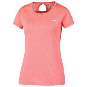Columbia T-Shirt Femme, Peak to Point Novelty Short Sleeve, Polyester, Rouge (Groovy Pink), Taille: M, AK1492