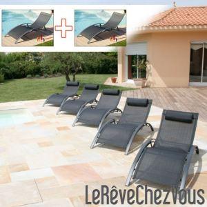 2 bains de soleil aluminium et textilène multi positions