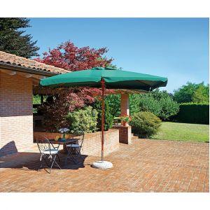 Pegane Parasol centr? rectangulaire 3 x 2m en bois de teck avec toile en polyester 230g vert - H max avec base 2.76m