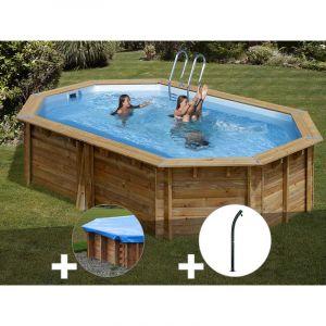 Sunbay Kit piscine bois Cannelle 5,51 x 3,51 x 1,19 m + Bâche hiver + Douche