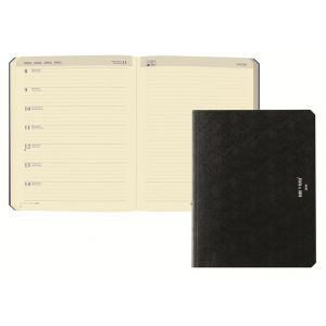 Brepols Agenda Back To Paper - 1 semaine sur 1 page + notes - format A5 - couverture cuir recyclé noir