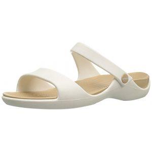 Crocs Cleo V Sandal Women, Femme Sandales, Blanc (Oyster/Gold), 34-35 EU