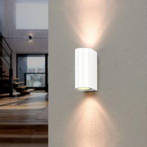 Silamp Applique Murale Blanche LED IP44 double faisceau GU10