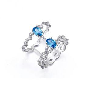 Blue Pearls Cry E412 J - Bague en cristal Swarovski et plaqué rhodium