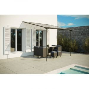Concept-Usine Ferrato 9,56 m² : tonnelle murale, carport en aluminium 3,75 x 2,55 m