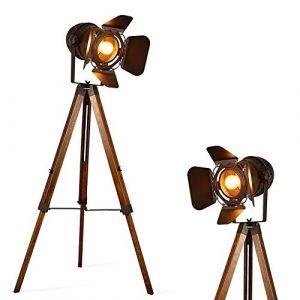 Barcelona led BarcelonaLED Lampe sur Pied Projecteur Cinéma sur Trépied en Bois Métal Noir Style Vintage Rétro Hauteur Ajustable avec Douille E27 et Interrupteur pour Salon Chambre Bureau