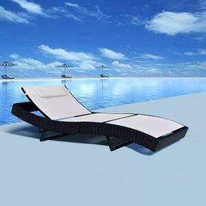 VidaXL Chaise longue rotin textilène blanc