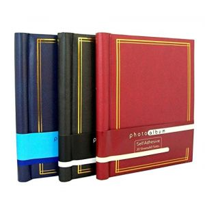 Anker Autocollant Albums Photo avec 20 feuilles/40 Côtés Chaque, Noir/Rouge/Bleu, Large, Lot de 3