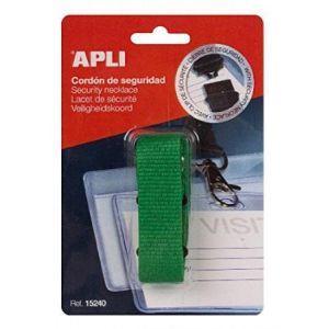 APLI 15240 - Lacet de sécurité pour badge, coloris vert