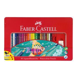 Faber-Castell Boîte de 48 Crayons aquarellables - Coloris assortis - Crayons de couleur classiques - Avec diamètre standard et forme hexagonale - Disponibles en 60 couleurs