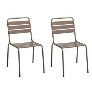 Chalet et Jardin 2 chaises de jardin empilables Haut Nomade en acier