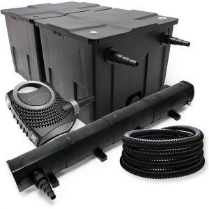 wiltec Kit de Filtration avec Bio Filtre 60000l, 72W UV Stérilisateur, Pompe de Bassin et 25m Tuyau
