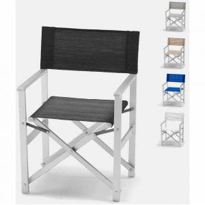 Beach and Garden Design Chaise transat style réalisateur de plage pliante aluminium textilene LUSSO | Noir