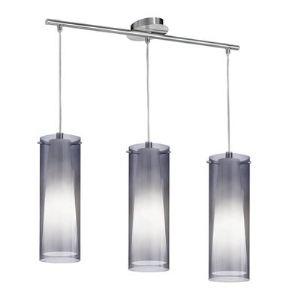 Eglo Suspension triple Pinto Nero 3 diffuseurs en verre et acier (75 cm) 60 W
