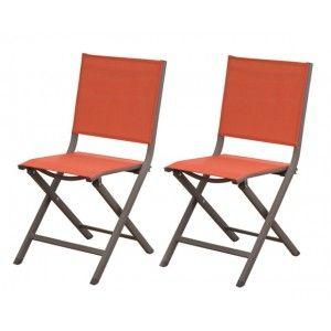 Terra - 2 chaises de jardin en aluminium et toile textilène