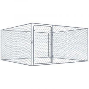 VidaXL Chenil extérieur pour chiens Acier galvanisé 2 x 2 m